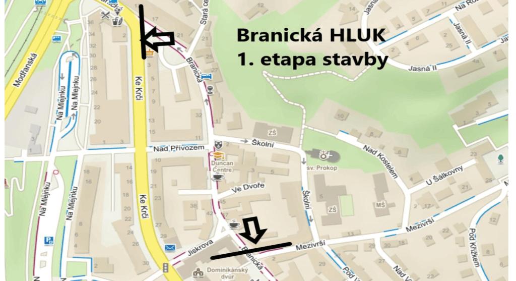 Mapka I. etapy stavby Branická HLUK